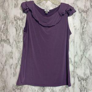 Worthington purple tank ruffled neck collar